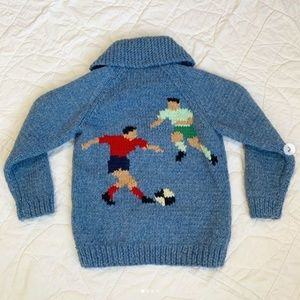 Vintage Soccer Novelty Knit Wool Cowichan Sweater